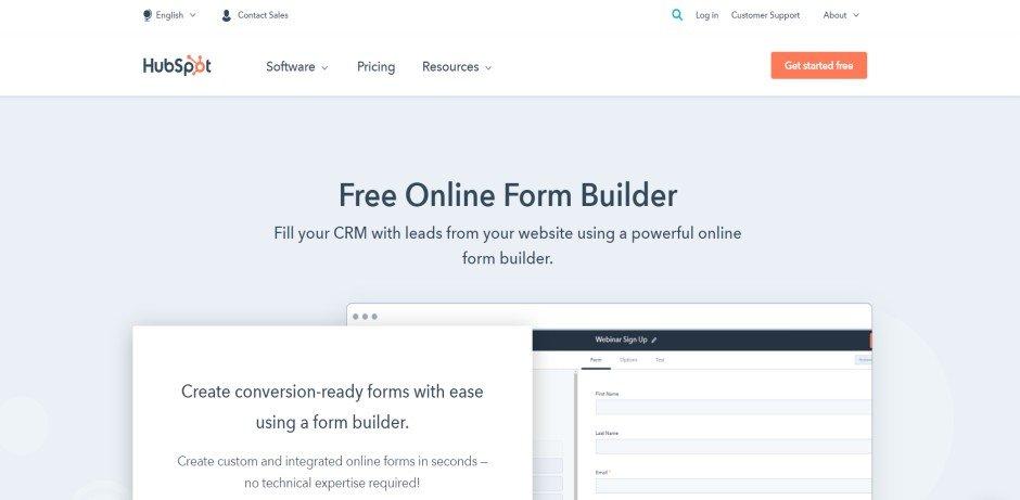 hubspot_free_online_form_builder